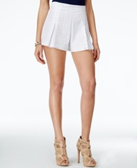 Xoxo Juniors' Pleated Crocheted Lace Shorts White
