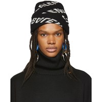 Balenciaga Black And White Jacquard Logo Beanie