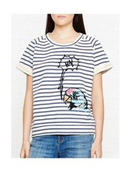 Paul By Paul Smith Parrot Striped T Shirt White Navy