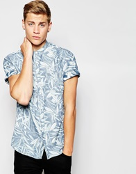 New Look Short Sleeve Grandad Shirt With Reverse Leaf Print Blue