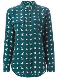 Equipment Bird And Star Print Shirt Green