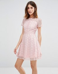 Warehouse Mixed Lace Prom Dress Pink Cream