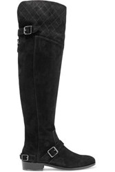 Belstaff Taylour Buckled Suede Over The Knee Boots Black