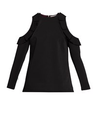 Ted Baker Steffe Cold Shoulder Ruffle Top Black