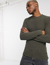 Replay Distressed Waffle Knit Jumper In Olive Green