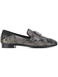 Giuseppe Zanotti Design Spacey Dappled Velvet Slippers Leather Metallic