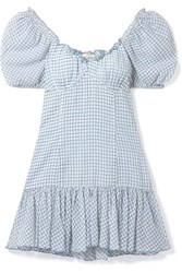 Loveshackfancy Catalina Off The Shoulder Checked Cotton Voile Mini Dress Blue