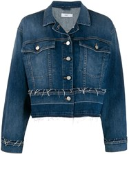 Closed Frayed Details Denim Jacket Blue