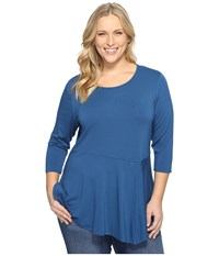 Vince Camuto Plus Size 3 4 Sleeve Asymmetrical Panel Hem Top Port Blue Women's Clothing