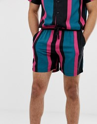New Look Co Ord Shorts In Green Stripe