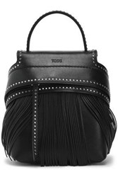 Tod's Woman Fringed Studded Leather Backpack Black