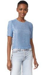 Ashish Beaded Crop T Shirt Baby Blue