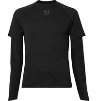 Under Armour Run Layered Microthread And Waffle Knit Top Black