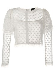 Just Cavalli Cropped Lace Top White
