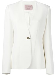 Lanvin Collarless Single Button Blazer White