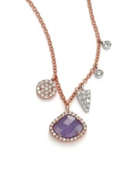 Meira T Tanzanite Mother Of Pearl Diamond And 14K Rose Gold Doublet Pendant Necklace