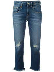 R 13 R13 Shredded Trim Cropped Jeans Blue