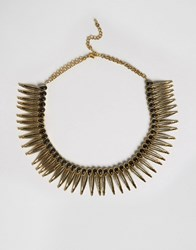 Paper Dolls Statement Collar Necklace Black Gold