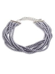 Kenneth Jay Lane Eight Strand Faux Pearl Necklace Silver