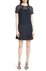 Ted Baker Women's London Deidre Pleated Drop Waist Dress Navy