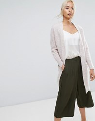 Selected Cardigan With Ribbed Cuff Sleeves White