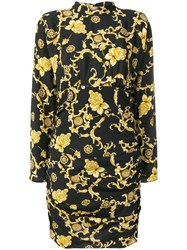 Veronica Beard Floral Print Mini Dress Black