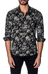 Jared Lang Trim Fit Sport Shirt Black Grey Floral Print