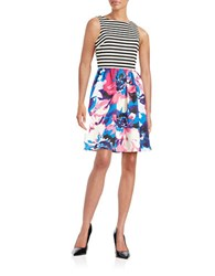 London Times Plus Mixed Print Fit And Flare Dress Pink Multi