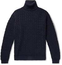 Tod's Cable Knit Merino Wool Rollneck Sweater Midnight Blue