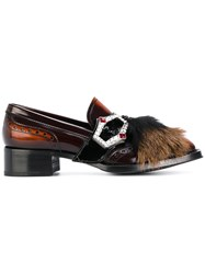 Prada Buckled Loafers Leather Rubber Brown