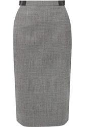 Altuzarra Bolan Leather Trimmed Prince Of Wales Checked Wool Blend Skirt Gray