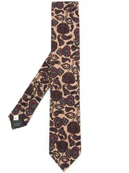 Kent And Curwen Paisley Print Tie Wool Silk Brown