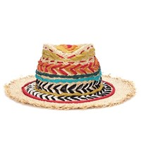 Etro Embroidered Straw Hat Multicoloured