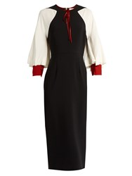 Roksanda Ilincic Alten Contrast Sleeve Crepe Pencil Dress Black White