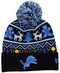 New Era Detroit Lions Christmas Sweater Pom Knit Hat