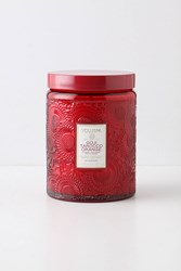 Anthropologie Limited Edition Voluspa Cut Glass Jar Candle Red