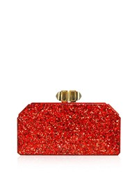 Judith Leiber Faceted Rectangle Clutch Bag Red