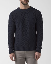 M.Studio Navy Blue Cable Thomas Pullover