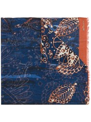 Kiton Abstract Print Cashmere Scarf Blue