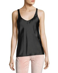 7 For All Mankind Scoop Neck Silk Satin Tank Black