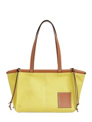 Loewe Sm Cushion Canvas And Leather Tote Bag Yellow