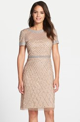 Petite Women's Adrianna Papell Beaded Woven Sheath Dress Champagne