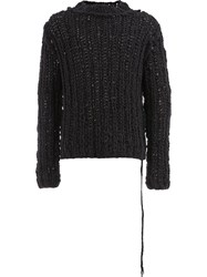Cedric Jacquemyn Oversized Cable Knit Sweater Black