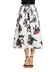 Phoebe Couture Floral Pleated Midi Skirt White Multi