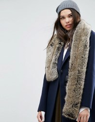 Asos Faux Fur Natural Long Scarf Neutral Beige