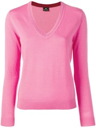Paul Smith Ps By V Neck Jumper Pink