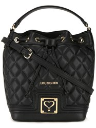 Love Moschino Quilted Drawstring Crossbody Bag Black