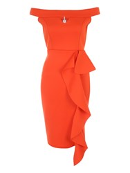 Jane Norman Orange Ruffle Bardot Dress Orange