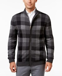 Tasso Elba Men's Mock Neck Check Zip Up Sweater Only At Macy's Charcoal Heather
