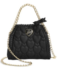 Betsey Johnson Mini Quilted Chain Handbag Black